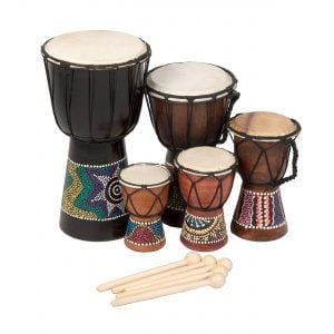 Image showing Mixed Pack of 5 x Budget Djembe Drums 12 15 20 25 30cm high painted with beaters group tight shot