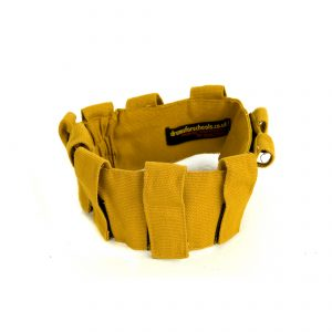 This is a product image of the Music Belt - Small. It is yellow in colour and has several loops for attaching shakers and other instruments.
