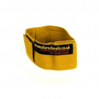 This is a product image of the Music Bracelet - small. It is yellow in colour and has a couple of Velcro loops for attaching shakers and other instruments.