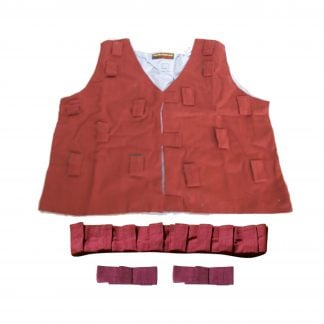 This is a product image of the Musical Clothing Kit - Large. All of the clothes are red in colour and have various loops and Velcro tags to attach shakers and other instruments. The kit is laid out with the tunic at the top, the belt below and two bracelets below.