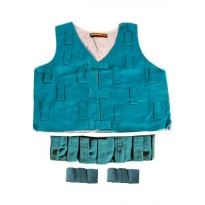 This is a product image of the Musical Clothing Kit - Medium. All of the clothes are blue in colour and have various loops and Velcro tags to attach shakers and other instruments. The kit is laid out with the tunic at the top, the belt below and two bracelets below.