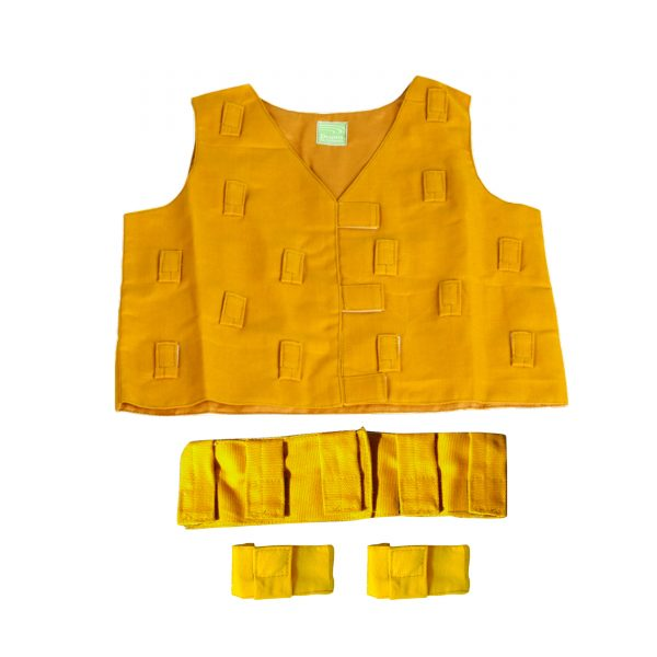 This is a product image of the Musical Clothing Kit - Small. All of the clothes are yellow in colour and have various loops and Velcro tags to attach shakers and other instruments. The kit is laid out with the tunic at the top, the belt below and two bracelets below.