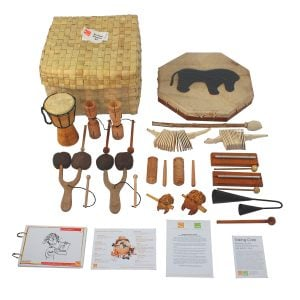 Nursery Rhythm Kit - 15 Instruments, laid out flat outside of the basket.
