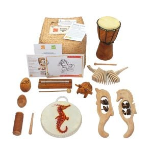 Nursery Starter Kit - 10 Instruments, for Australia distribution area, laid out flat outside of the basket.