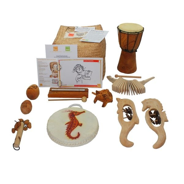 Nursery Starter Kit - 10 Instruments, laid out flat outside of the basket.