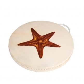This is a product image of the Ocean Drum - 16in (40cm) diameter, painted. It is round skin on a frame with a handle at the top. In the middle is a painted orange starfish.