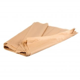 This is a product image of the Paper - brown (50 sheets). They are stacked and partially folded and rolled.