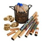 This is a product image of the Pulse and Play SEN Kit - 12 Instruments. The products in the pack are laid out and include the following; Back Row - Supermini Kenkeni - 10in diameter, 30cm high, bamboo with two beaters resting on top. Second Row - Four Ceng Ceng - 18cm, pair,  two Chime Bar - 1 note, stainless. Right Hand Side - One Rainstick - 100cm, bamboo, painted, Rainstick - 80cm, bamboo, painted, Rainstick - 60cm, bamboo, painted, Rainstick - 40cm, bamboo, painted, Rainstick - 20cm, bamboo, painted.