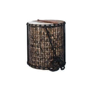 This is a product image of the Sangban - 16in diameter, 50cm high, bamboo. It is standing upright with one of the handles draped downwards at the front. A Dundun Beater is lying on top of the drum.