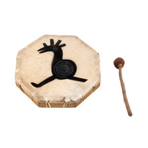 This is a product image of the Shaman Drum - 12in (30cm) diameter, painted. It is an octaganal frame drum with a stretched goat skin. The skin has a tribal cockeral painted upon it. The beater is lying to the right.