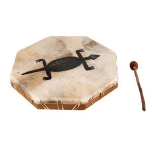 This is a product image of the Shaman Drum - 20in (50cm) diameter, painted. It is an octaganal frame drum with a stretched goat skin. The skin has a tribal gecko painted upon it. The beater is lying beside the drum.
