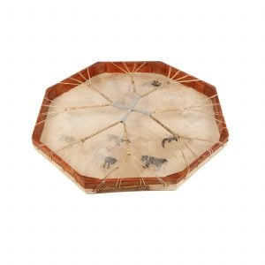 Shaman Drum - 24in (60cm) diameter, painted rear detail. It is an octaganal frame drum with a stretched goat skin. The skin has a multitude of tribal animals painted upon it. The beater is lying beside the drum.