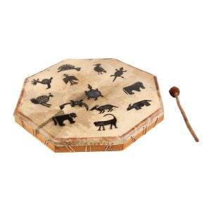 Shaman Drum - 28in (70cm) diameter, painted. It is an octaganal frame drum with a stretched goat skin. The skin has a multitude of tribal animals painted upon it. The beater is lying beside the drum.