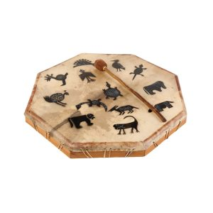 Shaman Drum - 28in (70cm) diameter, painted, with resting beater. It is an octaganal frame drum with a stretched goat skin. The skin has a multitude of tribal animals painted upon it. The beater is lying beside the drum.