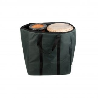 This is a product image of the Storage Carry Bag for 2 x 65cm Djembe Drums. The bag is upright and open, showing the contents as two Djembes, placed into the bag with one upright and one inverted.