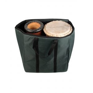 Storage Carry Bag for 2 x 65cm Djembe Drums, from open angled.