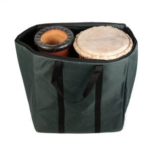 Storage Carry Bag for 2 x 65cm Djembe Drums, with sample content.