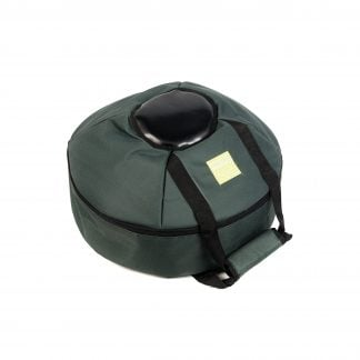 This is a product image of the Storage Carry Bag for 3 Gongs - 30/40/50cm diameter. It is laid flat and appears to contain the Gongs within the zipped up case. It is green with a black protective section to better protect the boss of the Gongs.