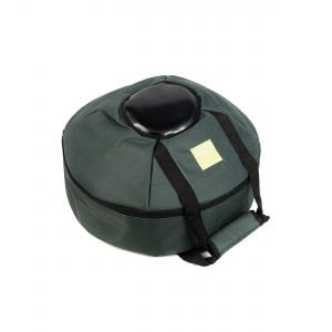 This is a product image of the Storage Carry Bag for 3 Gongs - 30/50/80cm diameter. It is laid flat and appears to contain the Gongs within the zipped up case. It is green with a black protective section to better protect the boss of the Gongs.