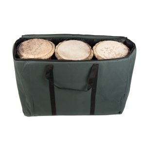 This is a product image of the Storage Carry Bag for 3 x 60cm Djembe Drums. The bag is upright and open, showing the contents as three djembe, snuggly fitting together inside the bag. The handle strap is hanging down towards the front.