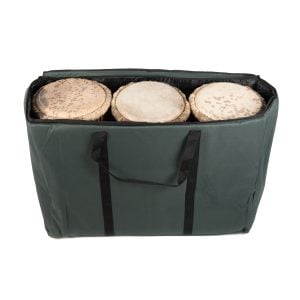 Storage Carry Bag for 3 x 60cm Djembe Drums with sample content.