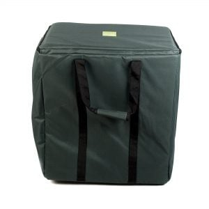 This is a product image of the Storage Carry Bag for 5 x 50cm Djembe Drums. It is almost square in shape with two strap handles hanging down and a zipped top section.