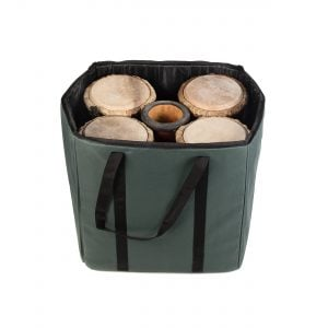 Storage Carry Bag for 5 x 50cm Djembe Drums. Showing the bag open.