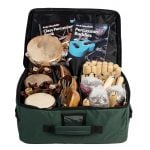 This is a product image of the Storage Carry Bag for Percussion - Small - Sing Up. It is a small, green rectangular bag and contains the instruments that would be sold with the Sing Up Kit.