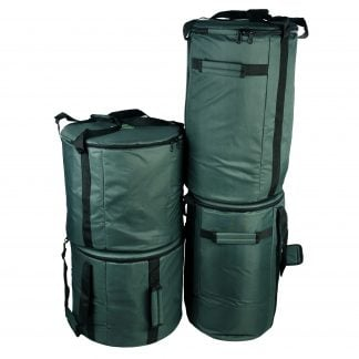 This is a product image of the Storage Carry Bags for 10 Brazilian Samba Primary Big Drums. The bags are all green with straps for carrying, and the contents are accessed through a zipped top section on each. There are four bags - the left hand two are for the three nesting Surdo drums. The right hand bags will store a Caixa and Repinique each.