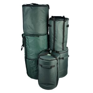 Storage Carry Bags for 15 x Brazilian Samba Secondary Big Drums, pack shot.