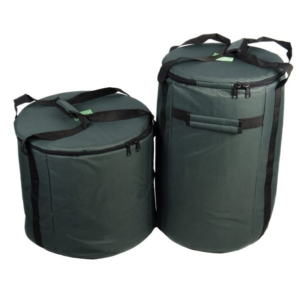 This is a product image of the Storage Carry Bags for 5 Brazilian Samba Primary Big Drums. The bags are both green with straps for carrying, and the contents are accessed through a zipped top section on each. There are two bags - the left hand bag is for the three nesting Surdo drums. The right hand bag will store a Caixa and Repinique.