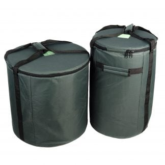 This is a product image of the Storage Carry Bags for 5 Brazilian Samba Secondary Big Drums. The bags are both green with straps for carrying, and the contents are accessed through a zipped top section on each. There are two bags - the left hand bag is for the three nesting Surdo drums. The right hand bag will store a Caixa and Repinique.