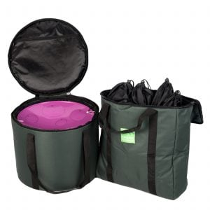 Storage Carry Bag for 5 x Jumbie Jam Steel Pans, with sample contents inside.