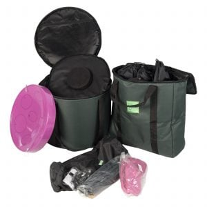 Storage Carry Bag for 5 x Jumbie Jam Steel Pans, with sample contents outside.
