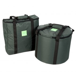 This is a product image of the Storage Carry Bag for 5 x Jumbie Jam Steel Pans. There are two bags in shot. The left hand bag is a rectangle and will carry the stands. The right hand bag is a cylinder and will carry the pans themselves. Both of the bags are green, have straps for carrying and have zipped sections at the top.