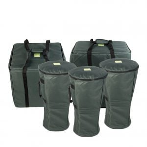 This is a product image of the Storage Carry Bags for 10 Primary Djembe Drums. There is a roughly square bag that will take five Djembe Drum - Standard - 8in diameter, 40cm high, natural. There is a rectangular bag that will take two Djembe Drum - Standard - 10.5in diameter, 60cm high, natural and at the front there are three single bags that will each carry a Djembe Drum - Standard - 9in diameter, 50cm high, natural. All of the bags are green in colour with straps for carrying, and are accessed by zips at the top.