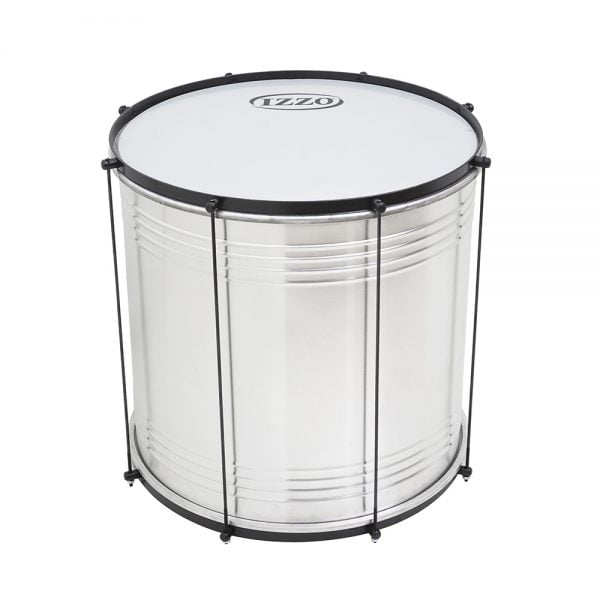 This is a product image of the Surdo - Economy - 14in diameter, Izzo. It is silver in colour with a black trim and has a synthetic skin. It is standing upright.