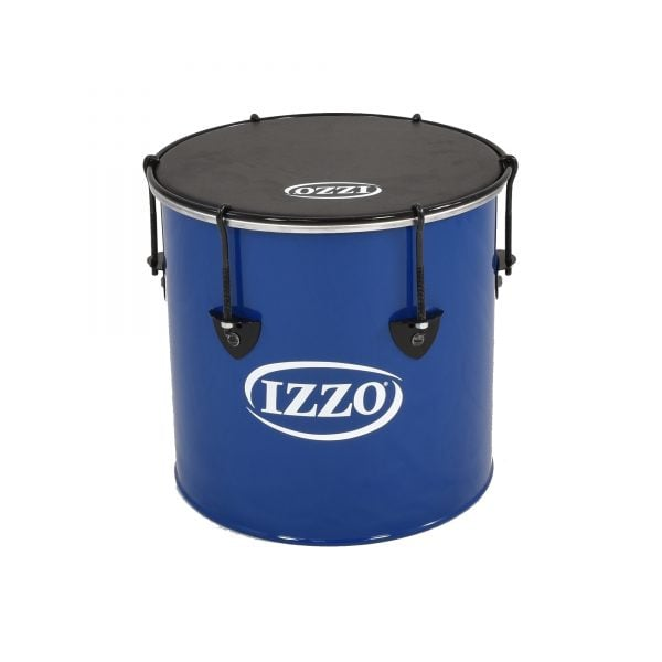 This is a product image of the Surdo - Nesting - 12in diameter, Izzo. It is blue in colour with black trim and has a black synthetic head. The instrument is standing upright.