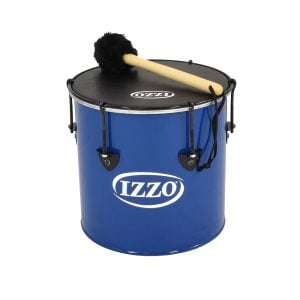 Surdo - Nesting - 12in diameter, Izzo, with beater. It is blue in colour with black trim and has a black synthetic head. The instrument is standing upright.