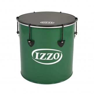 This is a product image of the Surdo - Nesting - 14in diameter, Izzo. It is green in colour with black trim and has a black synthetic head. The instrument is standing upright.