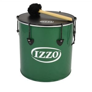 Surdo - Nesting - 14in diameter, Izzo, with beater. It is green in colour with black trim and has a black synthetic head. The instrument is standing upright.