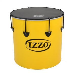 This is a product image of the Surdo - Nesting - 16in diameter, Izzo. It is yellow in colour with black trim and has a black synthetic head. The instrument is standing upright.