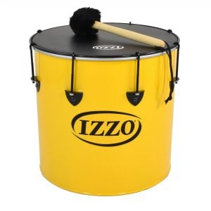 Surdo - Nesting - 16in diameter, Izzo, with beater. It is yellow in colour with black trim and has a black synthetic head. The instrument is standing upright.