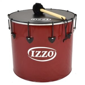 Surdo - Nesting - 18in diameter, Izzo, with beater. It is red in colour with black trim and has a black synthetic head. The instrument is standing upright.