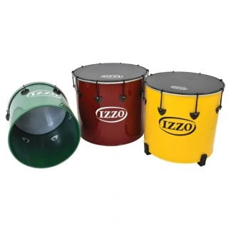 This is a product image of the Surdo - Nesting - Secondary - 3 Pack, Izzo. It contains the Nesting Surdo - 14in diameter, aluminium, Izzo (Green) lying down so that you can see inside the shell, followed by the Nesting Surdo - 18in diameter, aluminium, Izzo (Red) and the Nesting Surdo - 16in diameter, aluminium, Izzo (Yellow), both in upright positions. All three Surdos have black trims and black synthetic skins.
