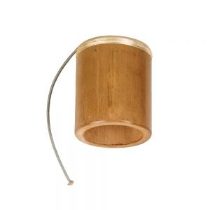 Thunder Drum - 4in diameter, 15cm high, bamboo. It is a bamboo tube with a stretched skin at one end, through which a loose metal spring is attached. The instrument is laid flat.