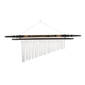 Wind Chime - 20in (50cm), bamboo. It is a series of bamboo tubes cut to different lengths in order to generate different notes when activated. A central pendulum is also present which will make the Wind Chime sound in an open air current.