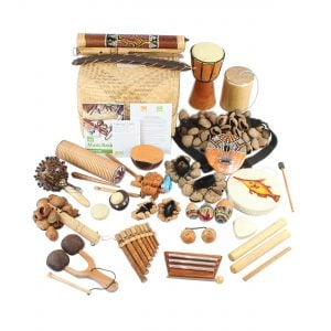World Music Basket - Large - 30 Instruments, laid out flat outside of the basket.