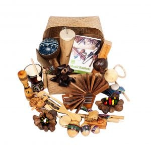 World Music Basket - Medium - 23 Instruments. The large array of products are presented within and around the Storage Basket, with the documentation either side.