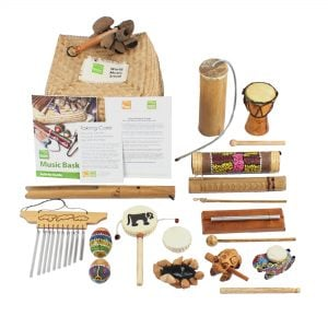World Music Basket - Small - 15 Instruments, with the contents laid out flat outside of the basket.